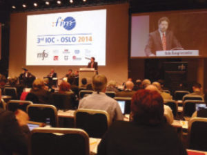 AFM President Ray Hair addresses the 3rd International Federation of Musicians (FIM) International Orchestra Conference (IOC) in Oslo, Norway.