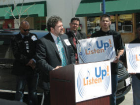 AFM President Ray Hair addresses the crowd at the Los Angeles launch of the Listen Up! campaign.