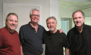 A backstage chat with the Gatlin Brothers: (L to R) Rudy, Bob Popyk, Larry, and Steve, members of Local 257 (Nashville, TN).