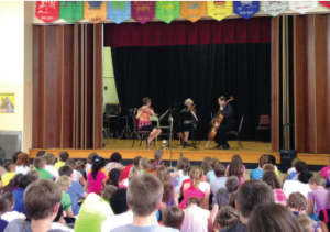 "MPTF is proud to continue its support of music education in the schools. Through MPTF support, the Allegria Ensemble recently performed a program called ""How to Listen to Classical Music: What to Know to Enjoy the Show"" in five Centre County schools. Above, Allegria Ensemble performs at Houserville Elementary School in State College, Pennsylvannia, August 5, 2014."