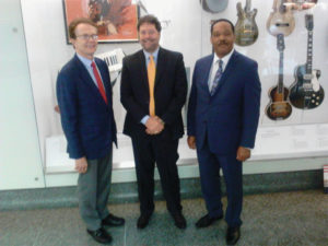 (L to R) Curator of American Music John Edward Hasse with AFM President Ray Hair and AFM Legislative Director Alfonso Pollard at the Smithsonian National Museum of American History.
