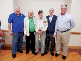 (L to R): Local 126 Vice-President Dick Clary; President Norm Dobson; 99-year-old Board Member Frank Higgins; Business Agent Gordon Bowman; and North Shore Musicians Union Concert Band Conductor David Benjamin.