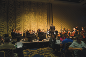 Members of the Las Vegas Philharmonic Orchestra entertain delegates before the second day of the AFM Convention convenes.