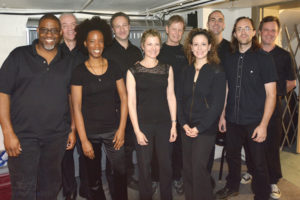 The Chicago Hamilton band, all members of Local 10-208 (L to R): Felton Offard (guitar), Rick Snyder (keyboard 2/assistant conductor), Tahirah Whittington (cello), Colin Welford (music director, conductor, keyboard 1), Roberta Freier (violin 2), Tom Mendel (bass), Heather Boehm (viola/violin), Tom Hipskind (drums), Chuck Bontrager (concert master/violin 1), and Jim Widlowski (percussion).