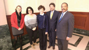 (L to R) National Symphony Orchestra Violist and then ICSOM Governing Board Member Jennifer Mondie; State Department Program Officer Julia Gomez-Nelson; Chief Cultural Programs Division for the State Department Bureau of Educational and Cultural Affairs Amy Bliss-Iacoella; AFM President Ray Hair; and AFM Legislative-Political and Diversity Director Alfonso Pollard in Washington, DC, during Arts Advocacy Season 2016.
